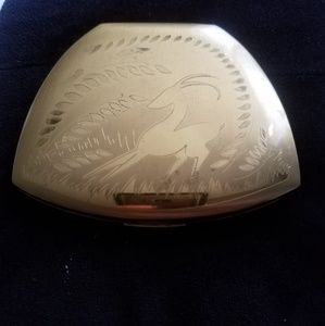 Elgin American Compact, Art Deco Etched Ram/Floral